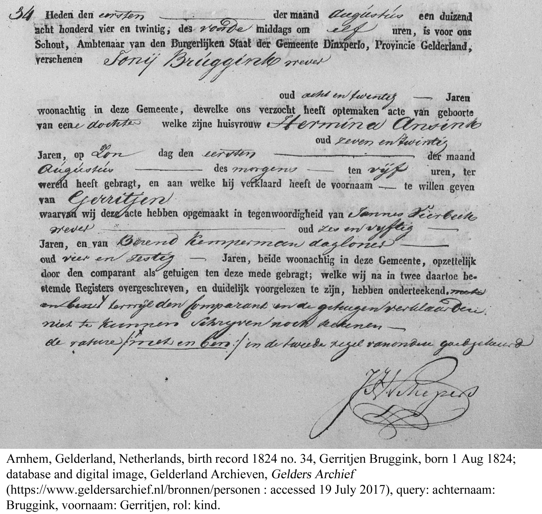 My third great grandma's birth certificate. Gerritjen Bruggink Goldbach (1824 - 1910)